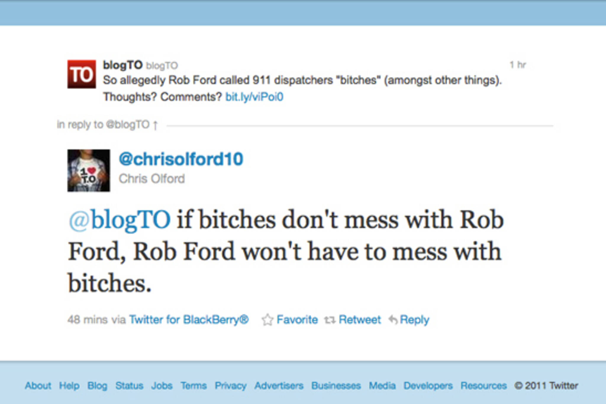 Rob Ford 911 Bitches
