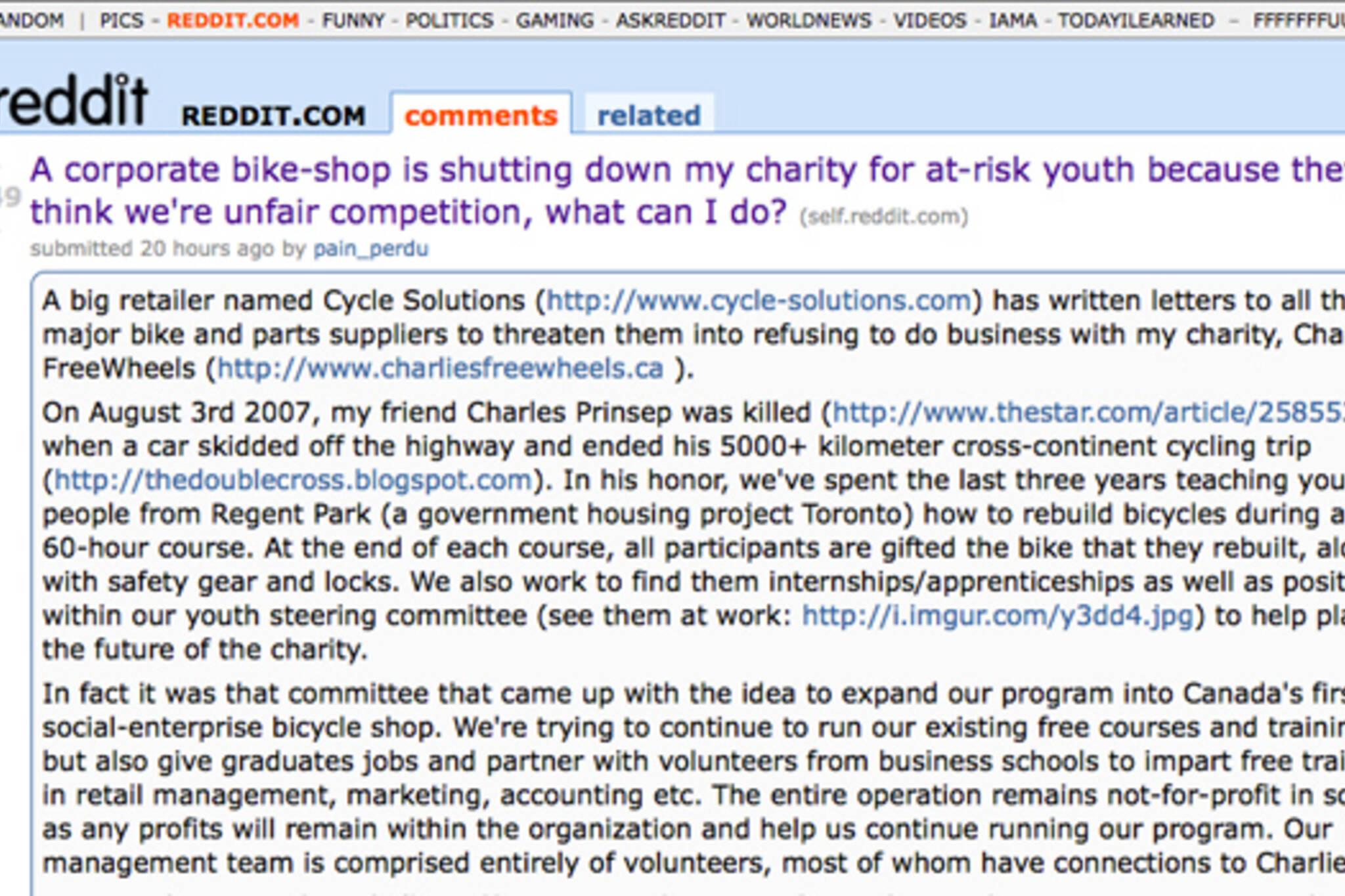 reddit post Toronto bike Store