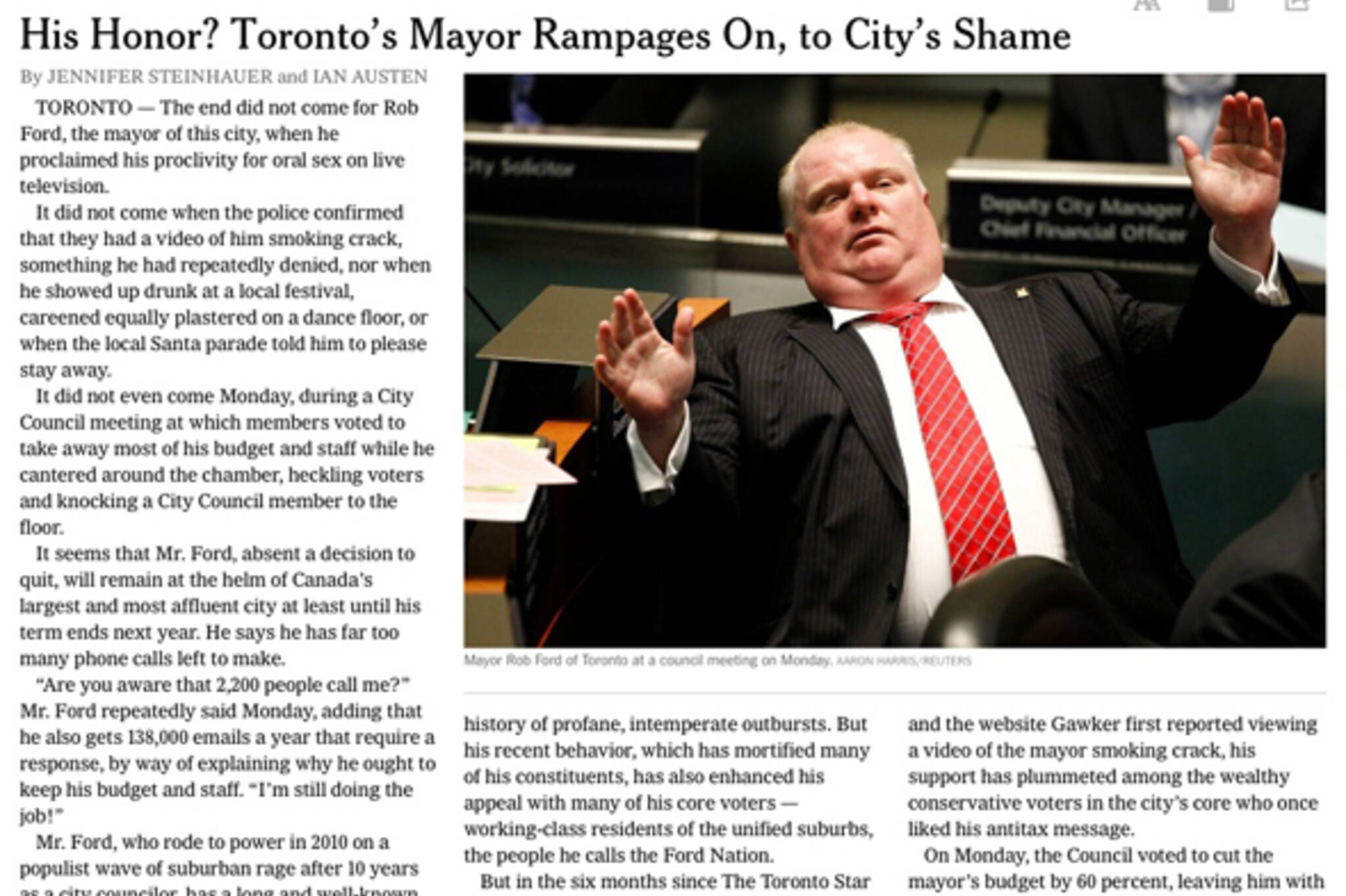 New York Times Rob Ford