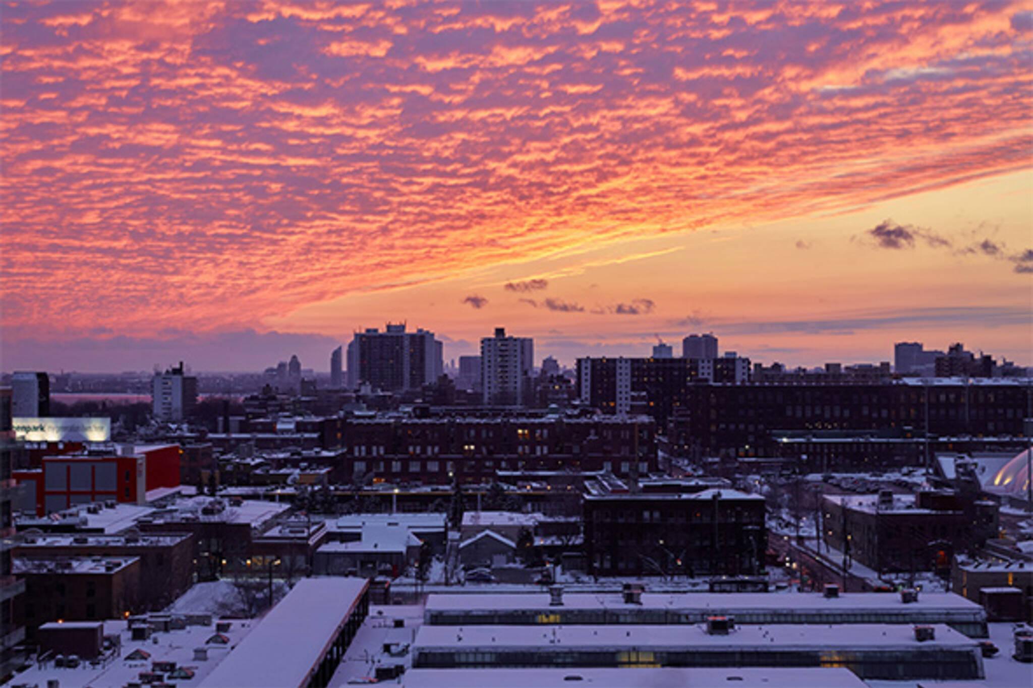 winter sunset toronto