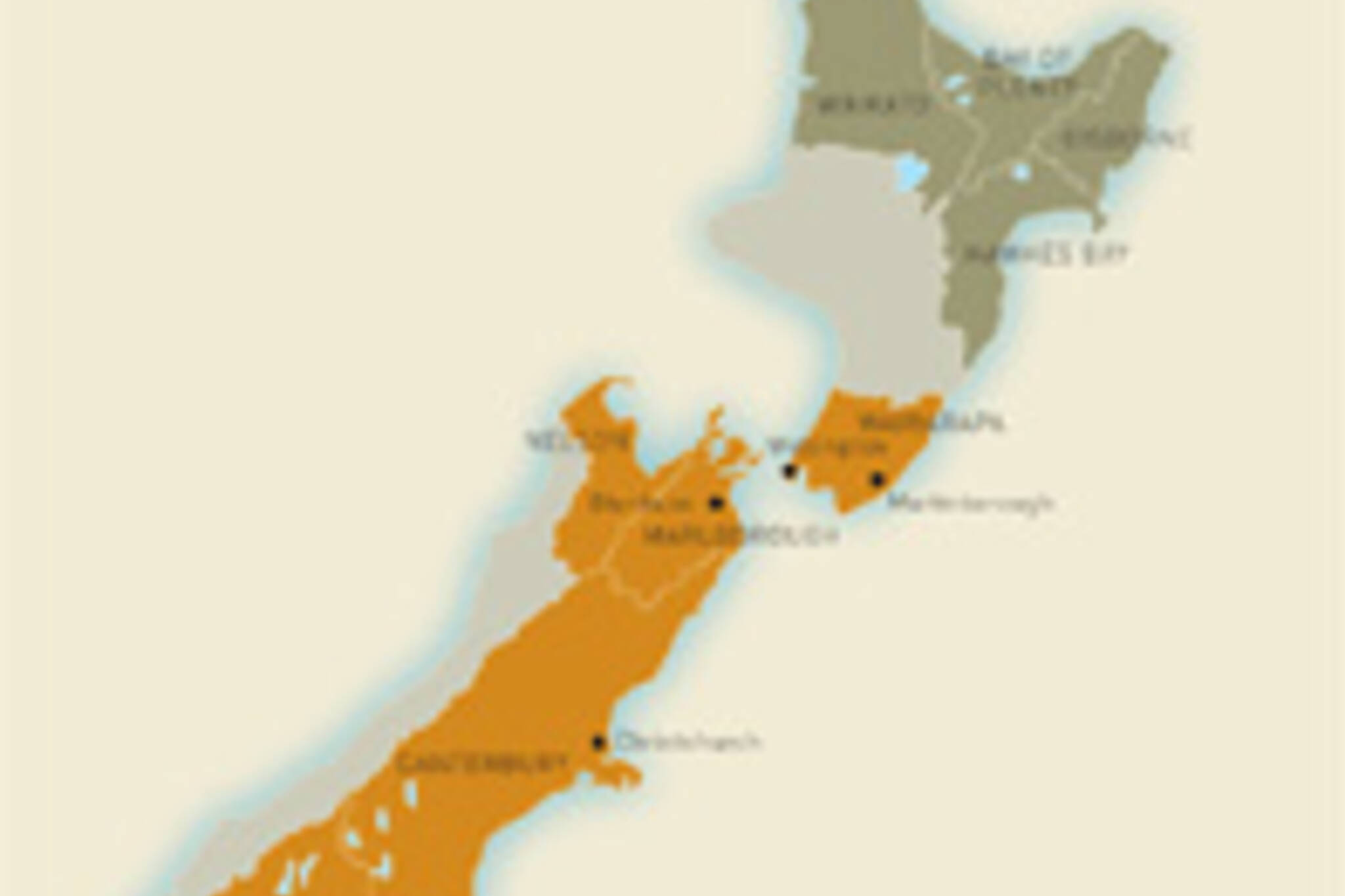 The wine regions of New Zealand.  Image from www.vintages.com