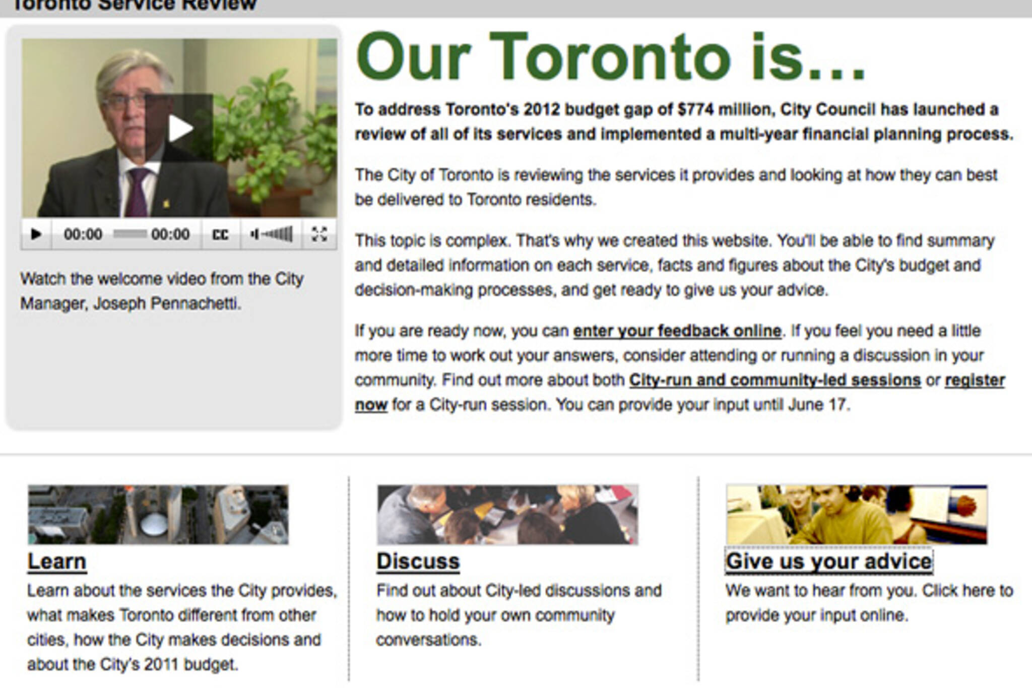 City of Toronto Services Review