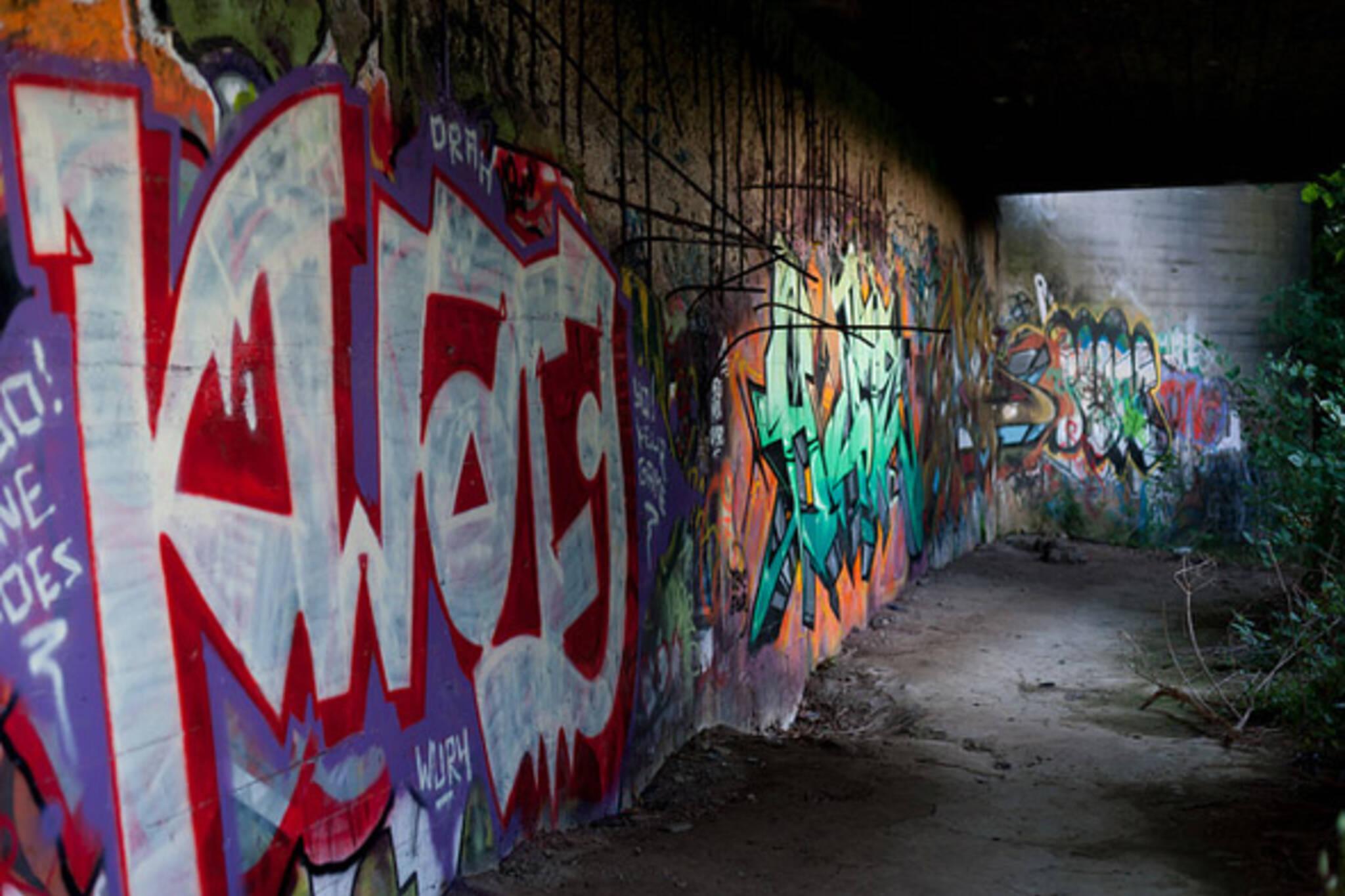 graffiti, alley, night