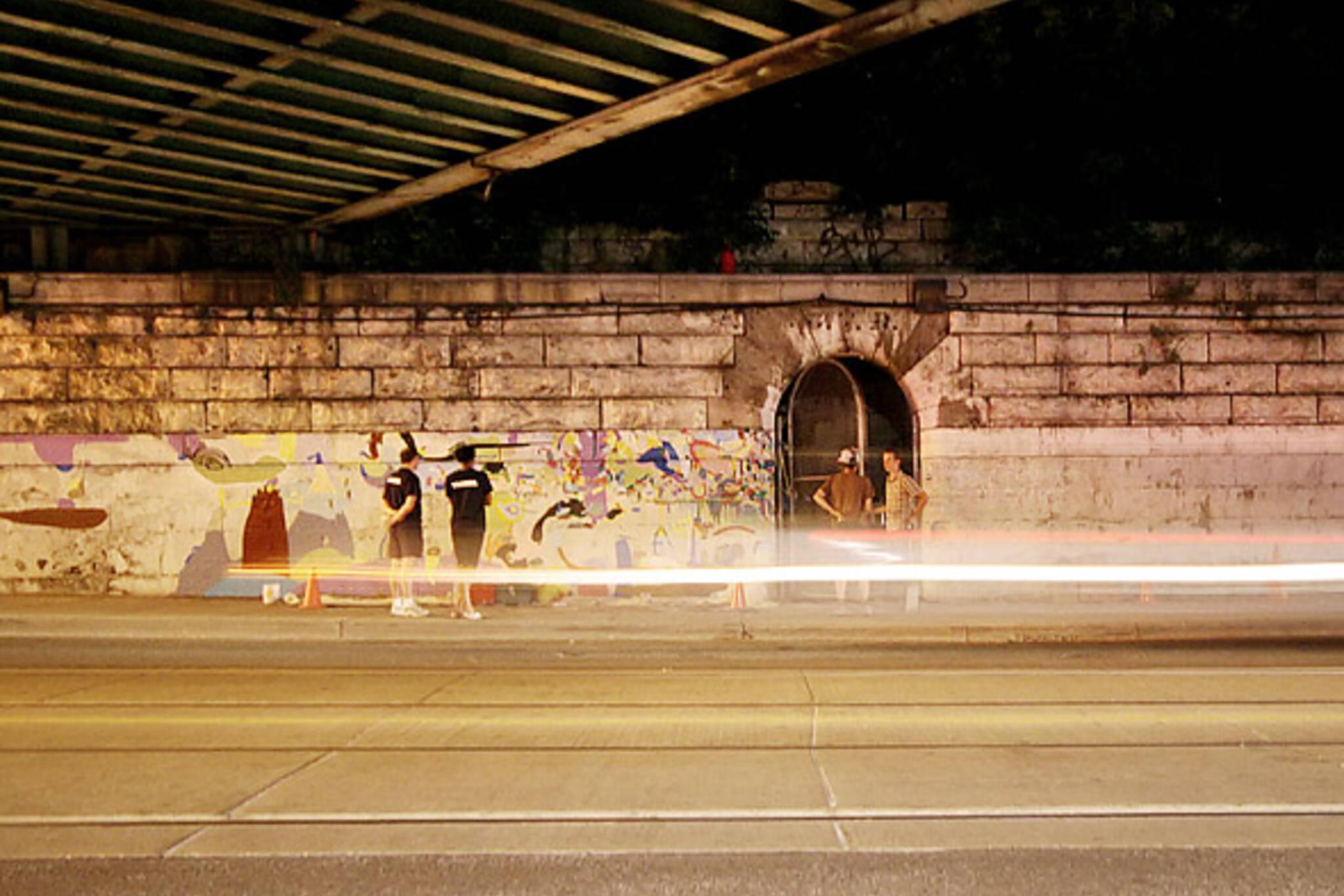 Capture the Hog - Mural in progress at Queen West & Dufferin
