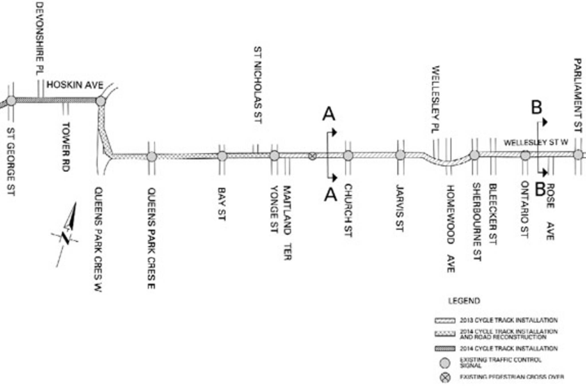 toronto wellesley bike lane