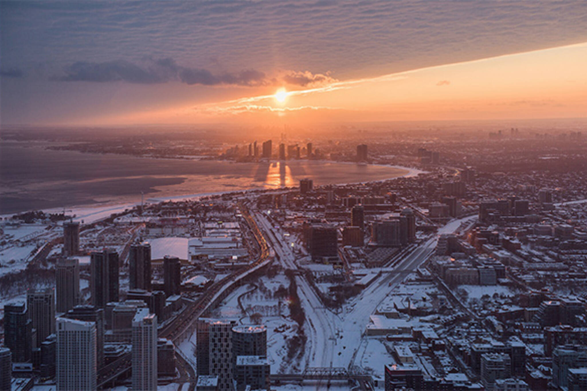winter sunset toronto