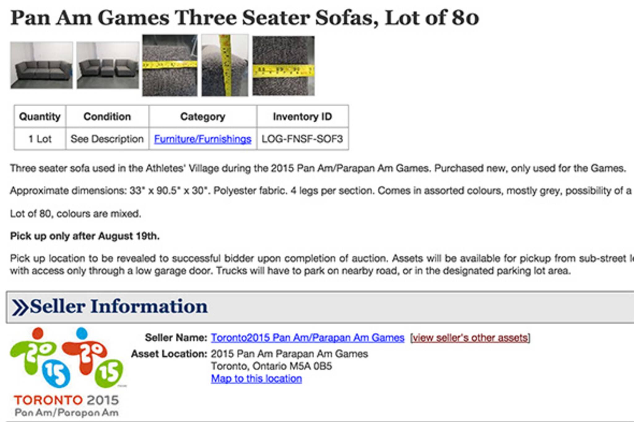 pan am games auction