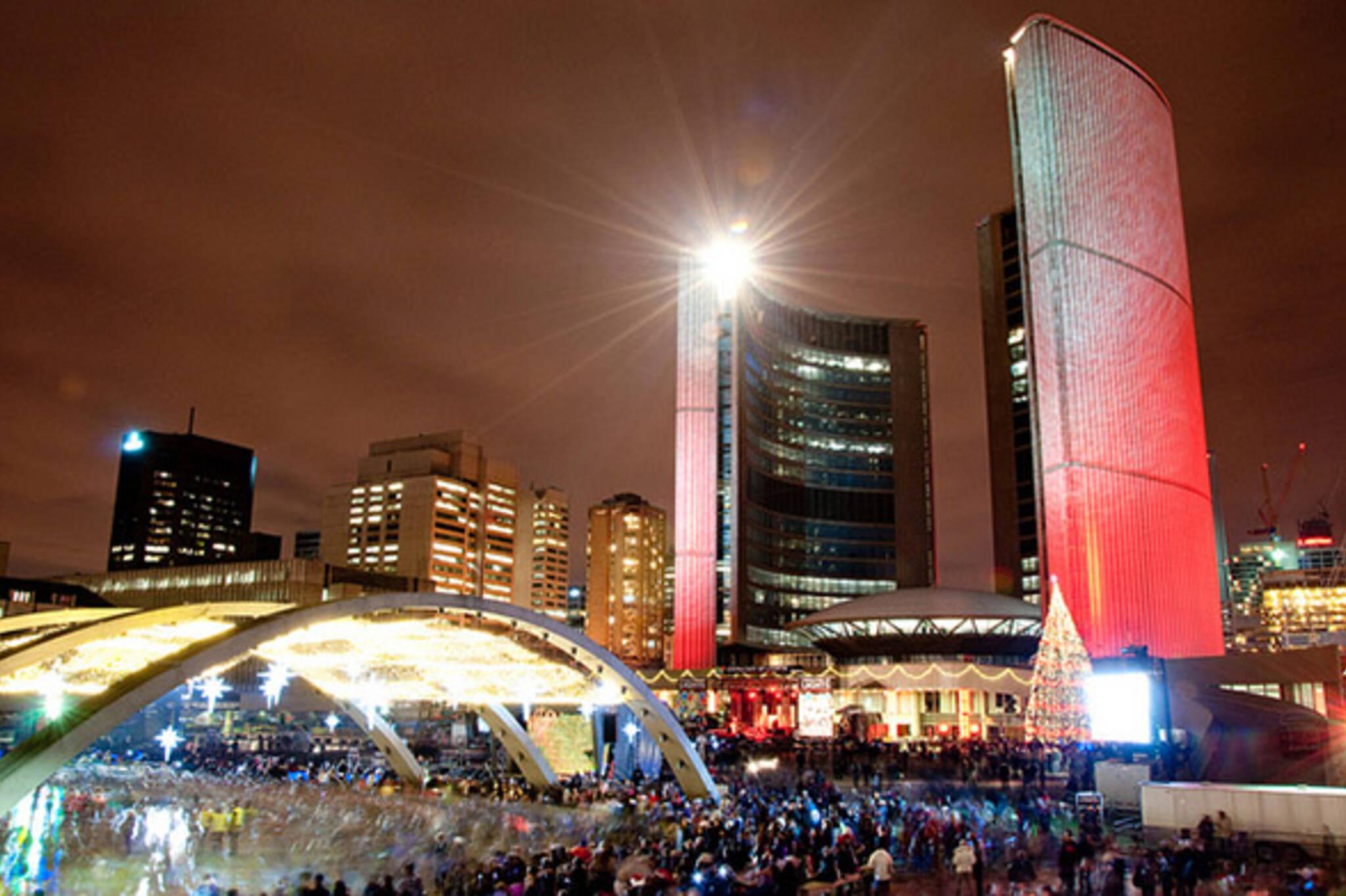 city, hall, lights