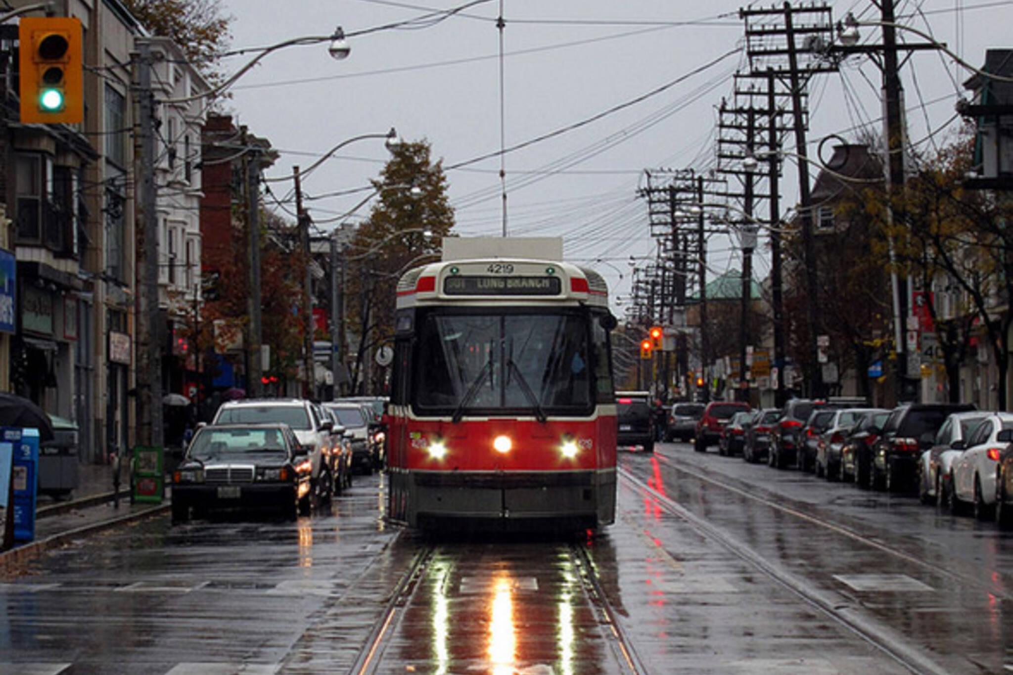 Toronto streetcar rain