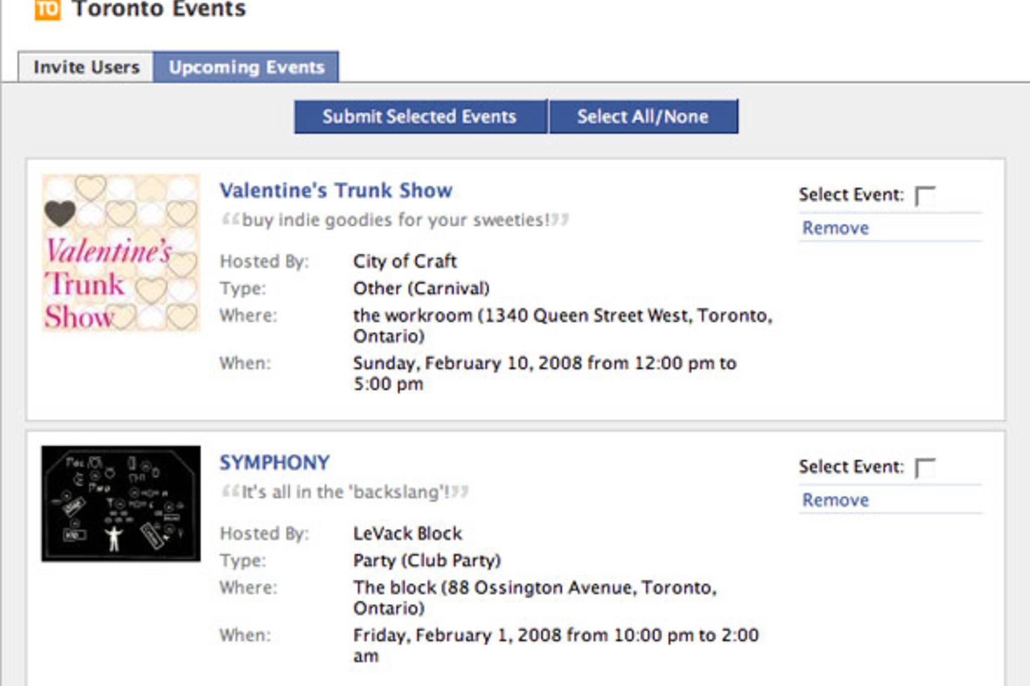 Toronto Events Facebook Application