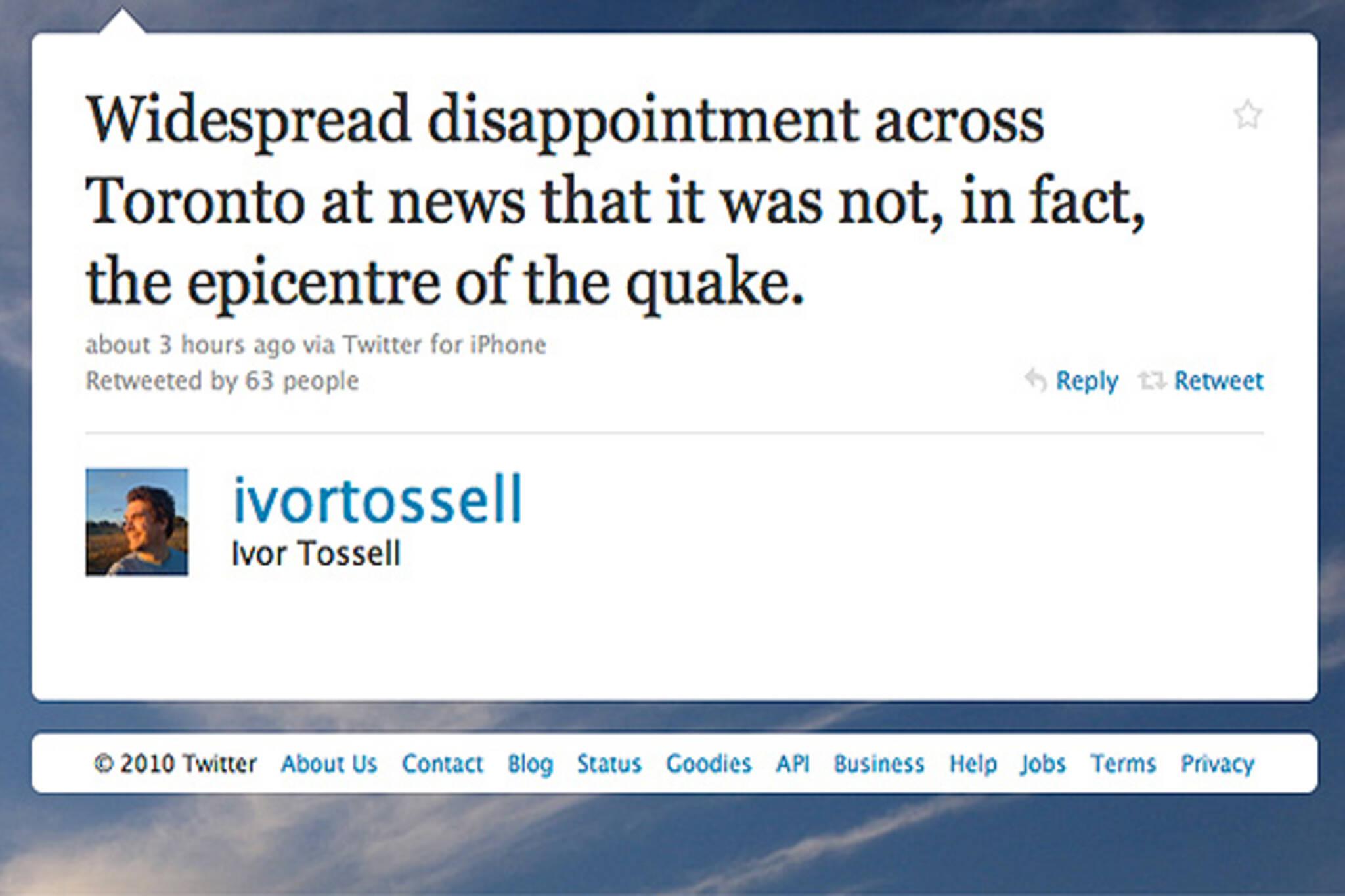 twitter toronto earthquake