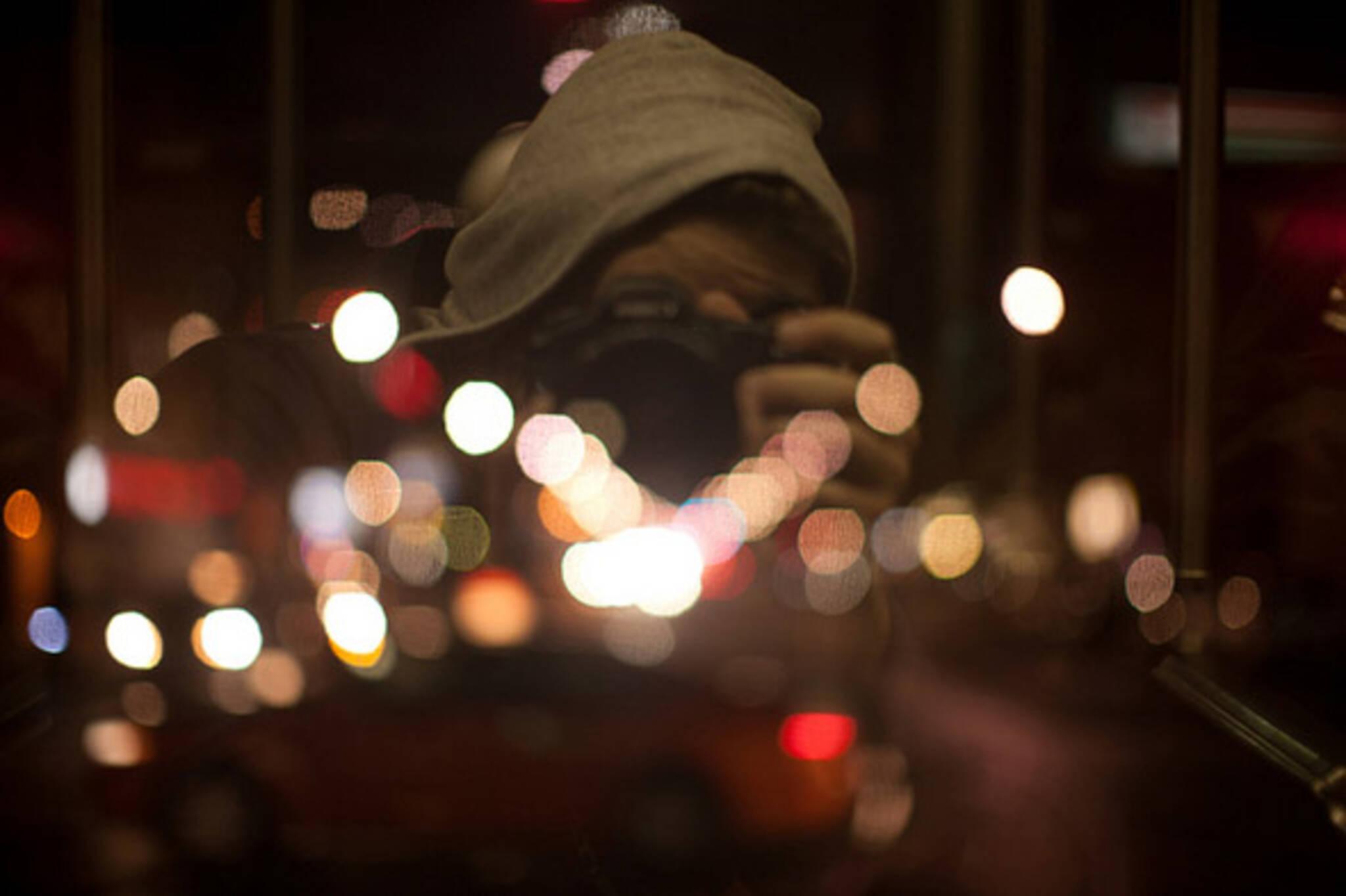 reflection, night, bokeh