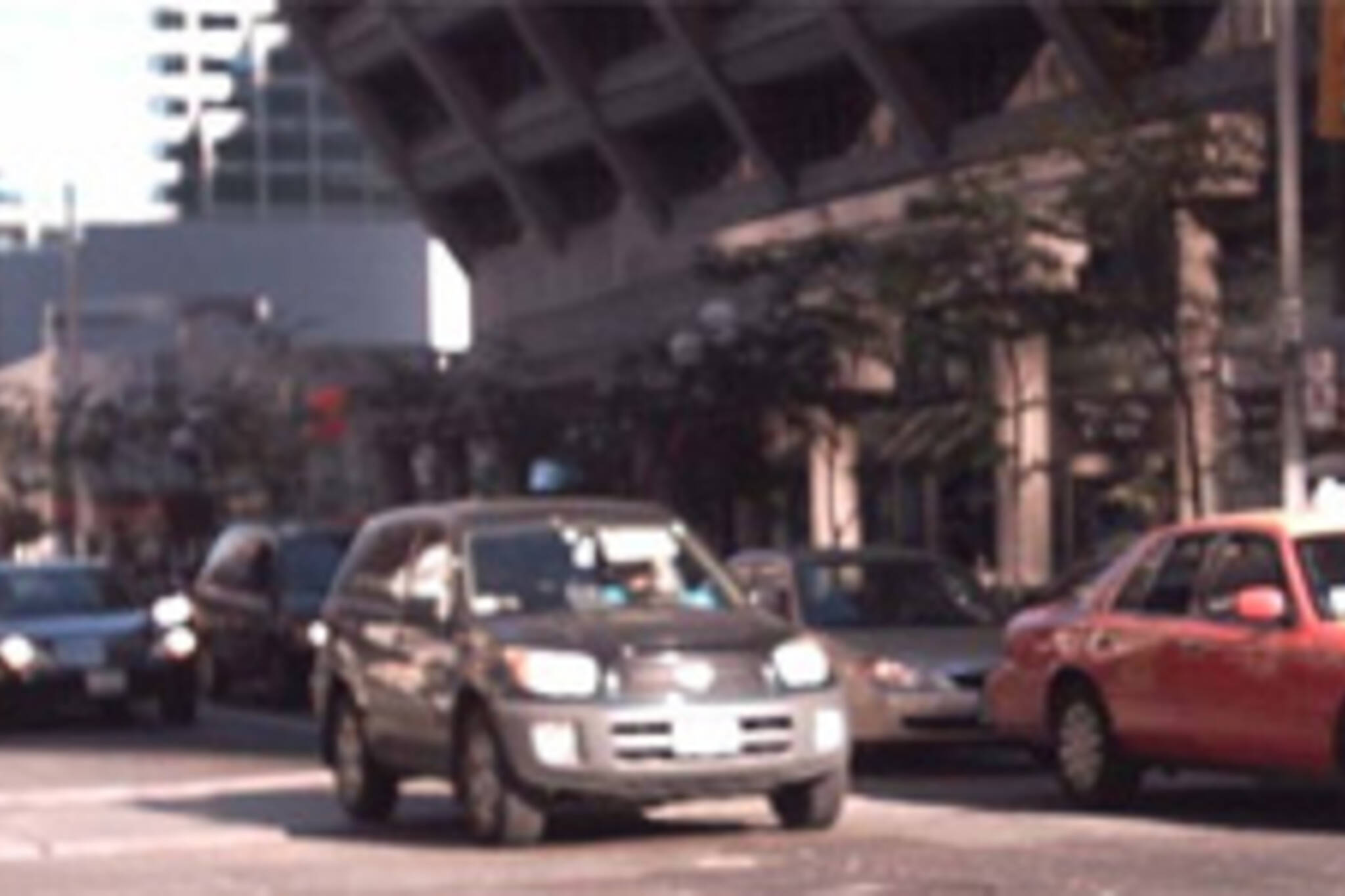 Traffic backed up at the corner of Bay and Bloor.  Image from www.ecopolitics.ca